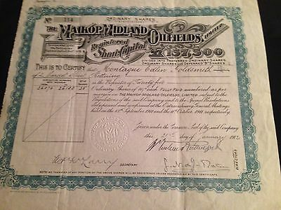 The Maikop Midland Oilfields Limited Original Share Certificate 1912