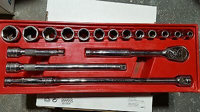 """Snap-On 1/2"""" Drive 6 Point SAE General Service Socket Set 17 Piece 317MSPC"""