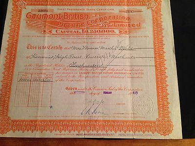 Gaumont British Picture Corporation Original Share Certificate