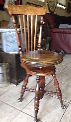 Pristine Antique Victorian Chas Parker [Meriden] Piano Stool- Claw & Ball- Slat