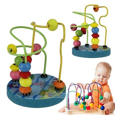Mini Wooden Children Kids Baby Colorful Around Beads Educational Game Toys