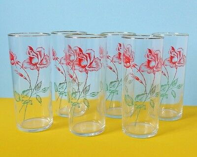 x6 Vintage 50s 60s Kitsch Rose Drinking Glasses Tall Tumblers Shabby Chic Retro