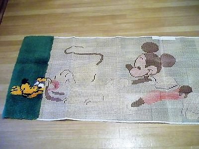 Walt Disney Productions Latch Hook Rug Kit *MICKEY & GOOFY* size 27 x 55 Started