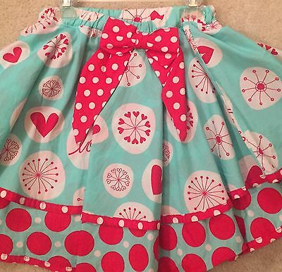 Jelly the Pug Red White Turquoise Polka Dot Circle Skirt 14