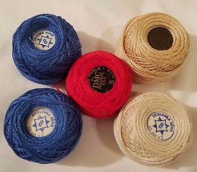 Lot of 5 DMC Cotton Pearl Roll Ball Thread Embroidery Stitching #5 & #8 Vintage