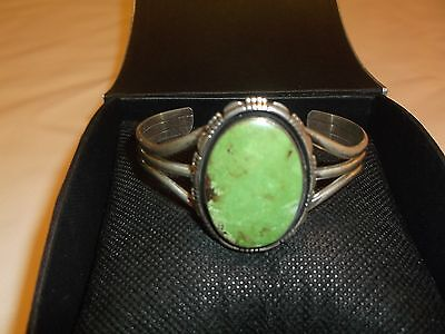 """Navajo Sterling Silver Oval Lime Green Turquoise Cuff Bracelet - Signed """"RCC"""""""