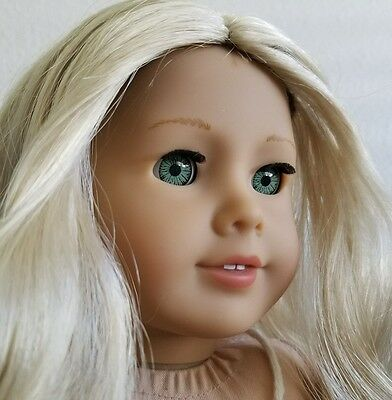 "AMERICAN GIRL 18"" doll CAROLINE ABBOTT long blonde curly hair aquamarine eyes"