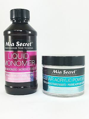 Mia Secret Liquid Monomer 4 oz & Clear Acrylic Powder 2 oz