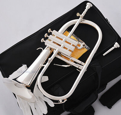 Professional Silver Plated Bb Flugelhorn MONEL Valve Quality Flugel 2 Mouthpiece