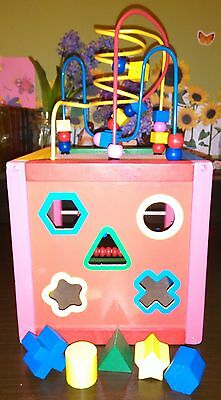 Baby Toddler Interactive Cube Box Wooden Toy Used Very Good Condition Shape Sort