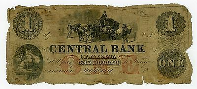 1800's $1 The Central Bank - Montgomery, ALABAMA Note w/ SLAVE