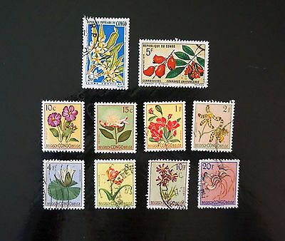 CONGO lot of 10 different FLOWERS on stamps OLD COMMEMORATIVES  used