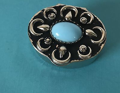 Vintage Trinket Box Silver Pill Box Turquoise Stone Embellishment Keep In Purse
