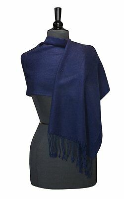 Biagio 100% Wool Pashmina Solid Scarf NAVY BLUE Color Women's Shawl Wrap Scarves