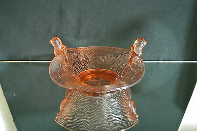 Vintage Depression Amber Rose Glass Bowl