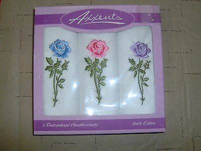 New In The Box Vintage Set Of 3 Embroidered Rose Handkerchiefs Axxents