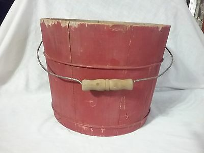 antique primitive wood old burgundy painted bucket well