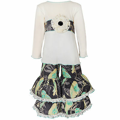 AnnLoren Toddler Girls Boutique 2/3T Sadie Birds and Lace Shirt and Pants Outfit