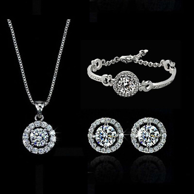 NEW! 18k White Gold Plated Crystal Earrings Necklace Bracelet Jewelry Set