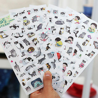 6 feuilles Portable Cute Cat Album Journal Calendrier Sticker Label Scrapbooking