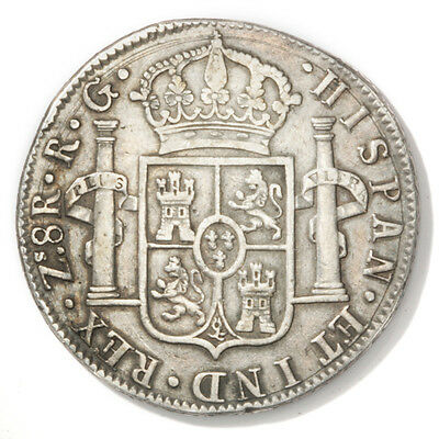 1821 Zs Zacatecas Mexico 8 Reales Silver Coin   KM#111.5  .7859 ASW 1 Year Issue