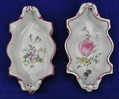 Rare Antique Pair of Niderviller French Faience Footed Dishes 18th Century