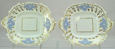 Pair of Antique Hand Painted Gold and Blue Staffordshire Cake Plates c 1840