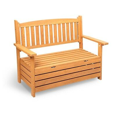 NEW Stylish 2 Seater Wooden Outdoor / Indoor Patio Backyard Porch Storage Bench