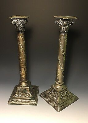 Antique German Silver Plated Ornate Candlesticks