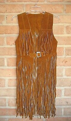 Vintage Genuine Suede Leather LONG Fringe VEST 70's Boho Hippie Coachella sz 38