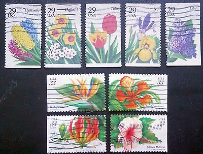 USA United States  FLOWERS 2 complete sets 1993, 1999 Used 9 stamps  Lot #95