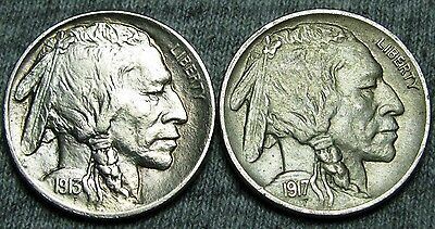 1913 Type2 + 1917 Buffalo Nickels --- STUNNING DETAILS LOT --- #T038