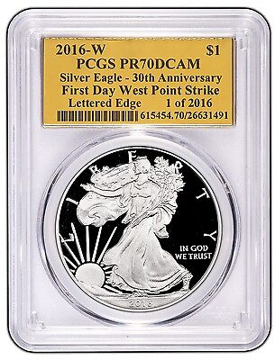 2016-W Proof Silver Eagle PCGS PR70 First Day of Issue Gold Foil 30th Anniversar