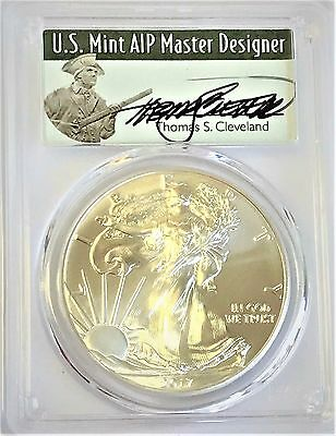 2017 Silver Eagle MS 70 PCGS First Day of Issue Signed Thomas S Cleveland FDOI