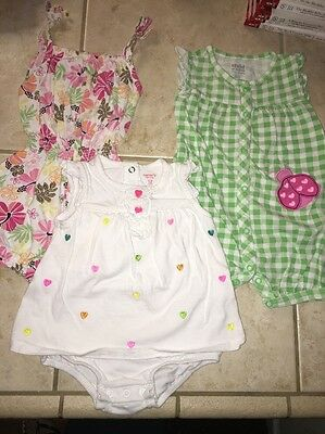 Lot of 3 Summer One Piece Outfits 12m Carter's Koala Baby