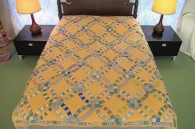 """RUSTIC Farm Made Vintage Hand Sewn Feed Sack Cotton WEDDING RING QUILT 81"""" x 64"""""""