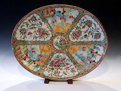"14"" Large Antique Chinese Export Qing 19th Famille Rose Medallion Platter Plate"