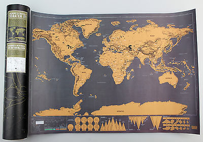 Portable Travel Edition Scratch Off World Map Poster Personalized Journal Log