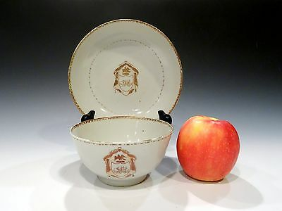 18th c Large Antique Qing Chinese Export Armorial Rice Bowl and Saucer