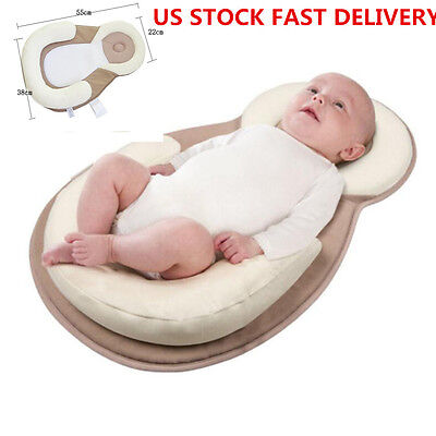 US Infant Baby Cotton Anti Roll Head Cushion Pillow Sleep Pad Mat Safety Flat