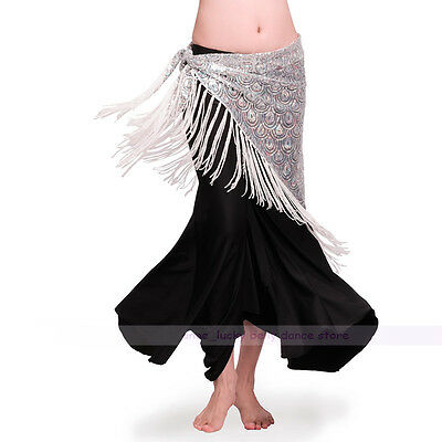 New Belly Dance Peacock Sequin Hip Scarf Belt Tribal Triangle Shawl silver color