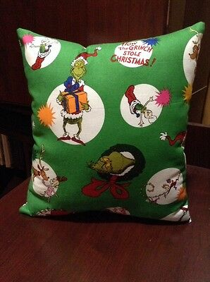 How the Grinch Stole Christmas Dr Seuss Fabric Pillow NEW Handmade