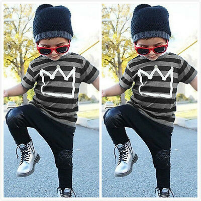 US Toddler Kids Baby Boys Outfit T-shirt Tops+Long Pants 2pcs Summer Clothes Set