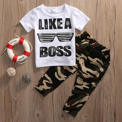 US Stock Toddler Baby Kids Boys Clothes Set T-shirt Tops+Long Pants 2PCS Outfits