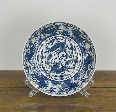 Superb Finely Painted Chinese Ming Chenghua MK Blue and White Porcelain Plate