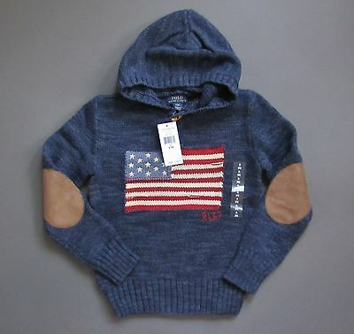 Ralph Lauren Polo USA Flag Sweater Hoodie Pullover Youth Size S 8 M 10 -12 NWT