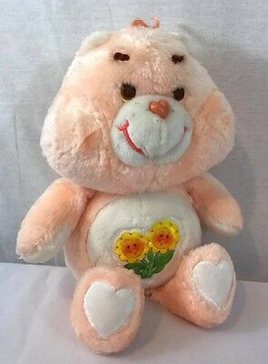 Vintage 1983 Kenner CARE BEARS FRIEND BEAR Plush 13in Orange Flowers Stuffed Toy