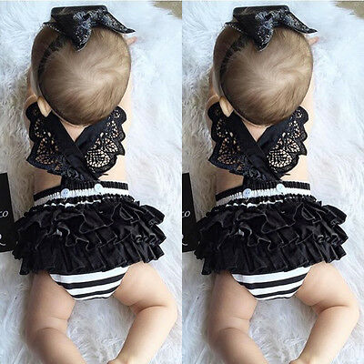 Newborn Kids Baby Girls Clothes Lace Jumpsuit Romper Bodysuit + Headband Outfits