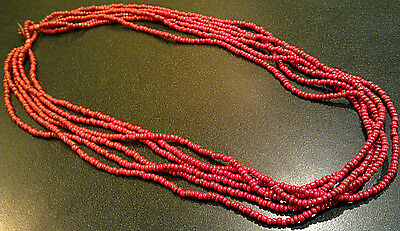 "Vintage 22"" Red Coral Multi-strand Beaded Necklace"