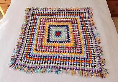 Handmade knitted crochet colourful blanket/throw